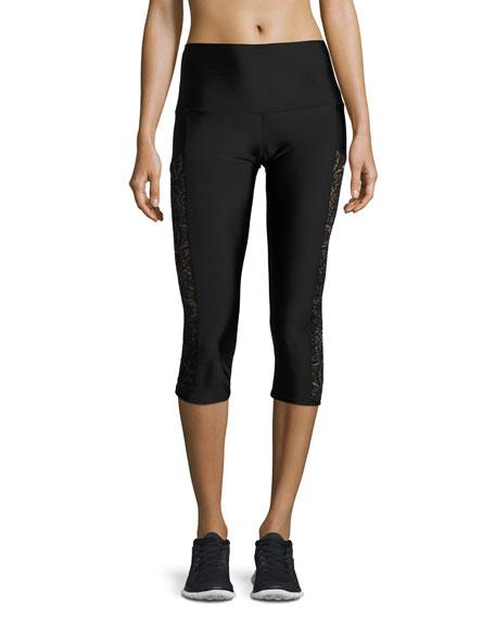 Onzie Stunner Lace-Trim Capri Leggings, Black