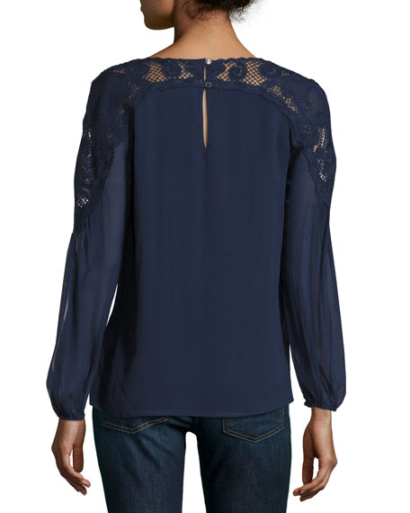 Serena Long-Sleeve Lace-Yoke Silk Blouse, Blue