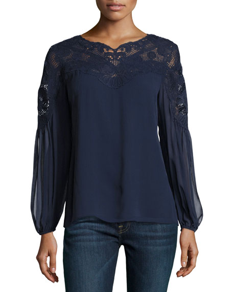 Kobi Halperin Serena Long-Sleeve Lace-Yoke Silk Blouse, Blue