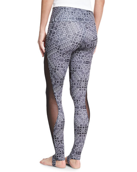 Ring-Print High-Rise Stirrup Leggings, Black/White