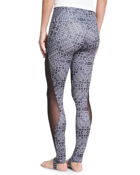 Ring-Print High-Rise Stirrup Leggings, Black/White