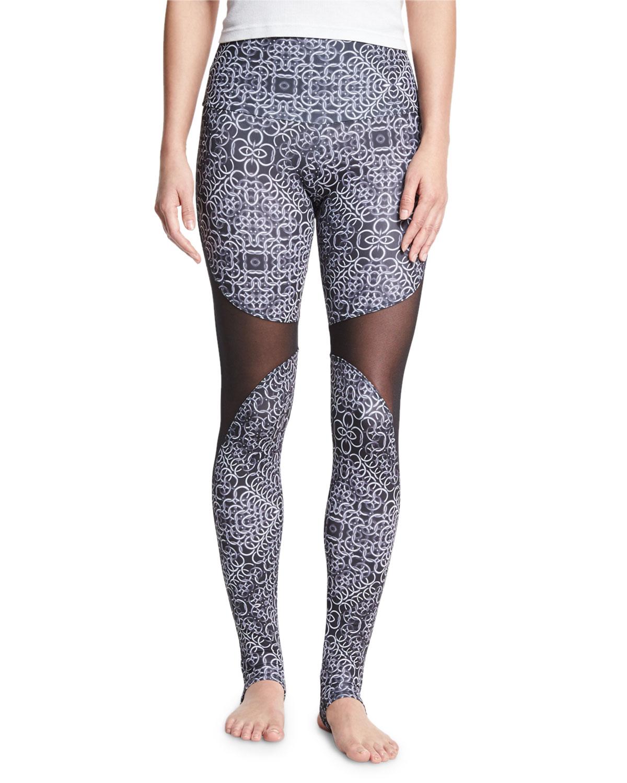 3b1c5e2359e0d Onzie Ring-Print High-Rise Stirrup Leggings, Black/White | Neiman Marcus