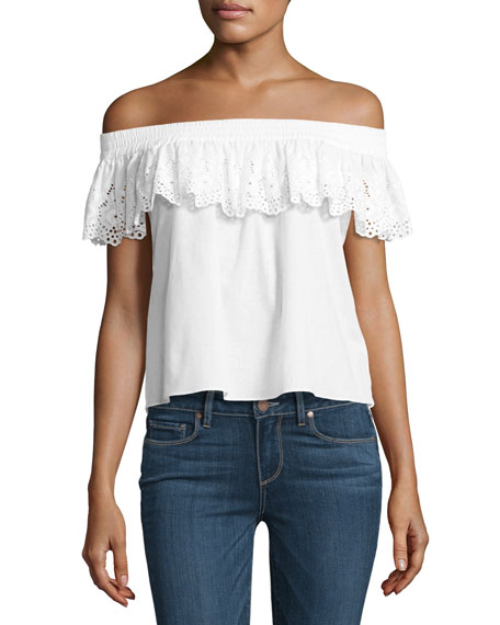 MISA Los Angeles Eyelet Lace Off-the-Shoulder Top, White