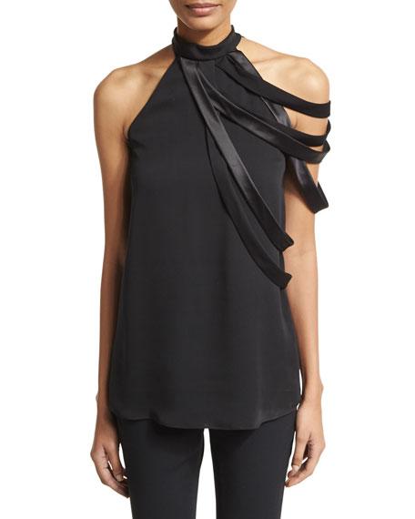 Sleeveless High-Neck Blouse w/ Asymmetric Strappy Detail, Black