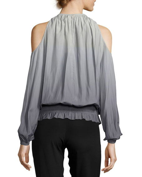 Lauren Ombré Cold-Shoulder Top, Silver/Gunmetal
