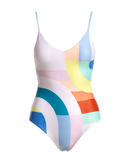 Classic V-Neck One-Piece Swimsuit, White/Multicolor