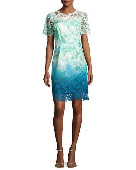Elie Tahari Short-Sleeve Lace-Trim Ombre Organdy Dress, Green