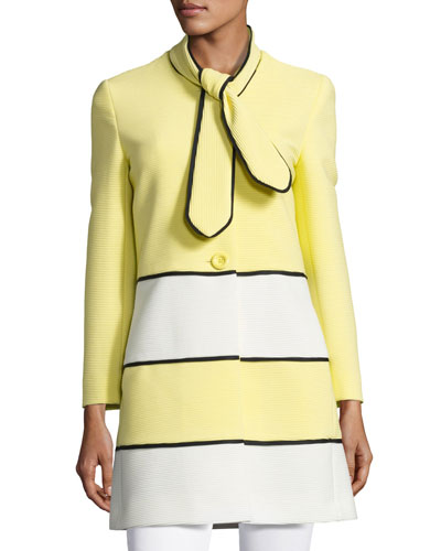 Ribbed Colorblock Topper Coat, Yellow/White