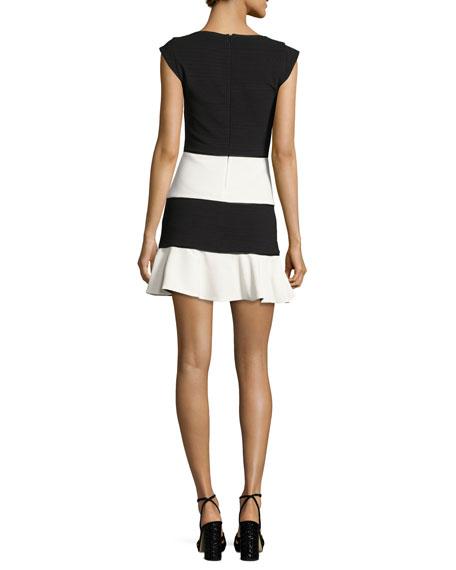 Cap-Sleeve Colorblock Skater Dress, Black/White