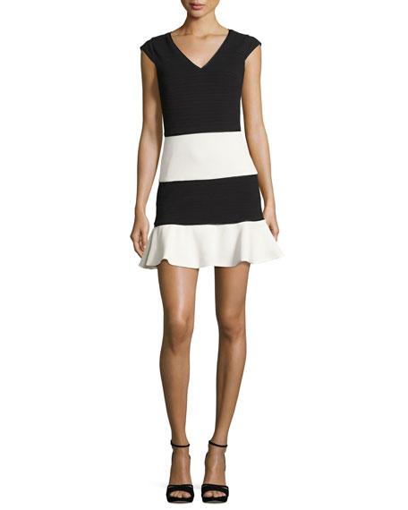 Boutique Moschino Cap-Sleeve Colorblock Skater Dress, Black/White