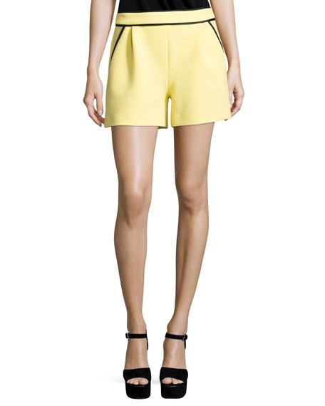 Boutique Moschino Ribbed Knit Shorts w/ Contrast Piping,