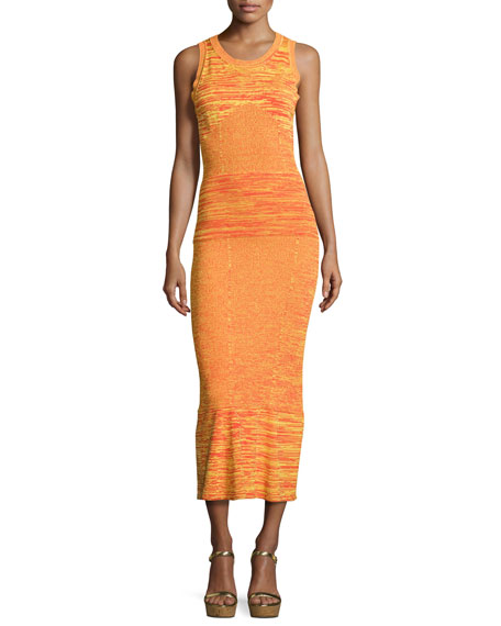 Boutique Moschino Sleeveless Space-Dyed Maxi Dress, Orange