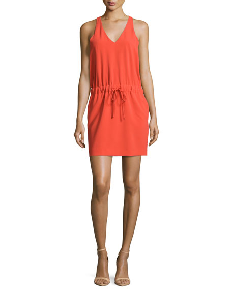 Boutique Moschino Sleeveless Tie-Waist Dress, Coral