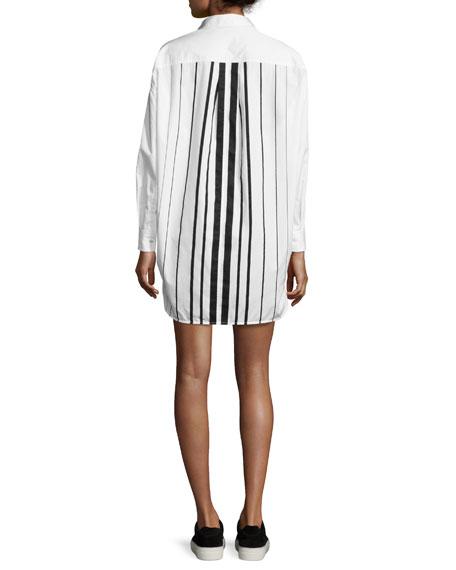 Striped Oversized Shirtdress, White/Black