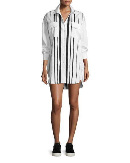Striped Oversized Shirtdress, White/Black