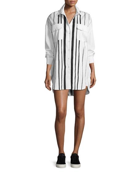 Kendall + Kylie Striped Oversized Shirtdress, White/Black