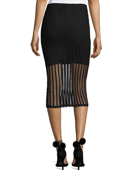 Lattice Jersey Midi Skirt, Black