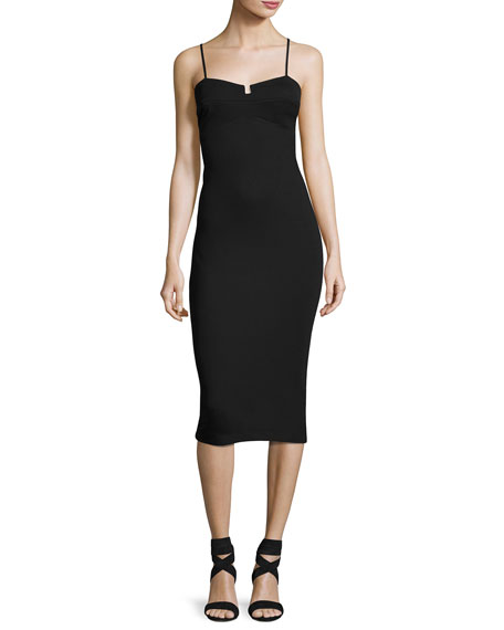 Sleeveless Bralette Body-Con Sheath Dress, Black
