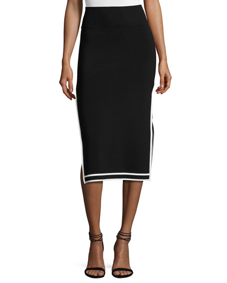 Kendall + Kylie Sporty Border Side-Slit Midi Skirt,