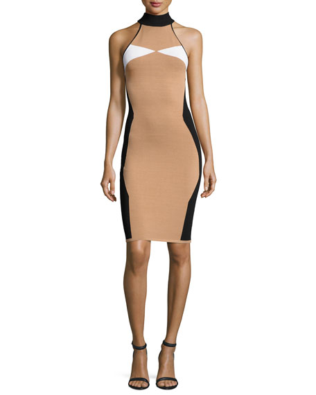 Kendall + Kylie Sleeveless Mock-Neck Intarsia Fitted Dress,