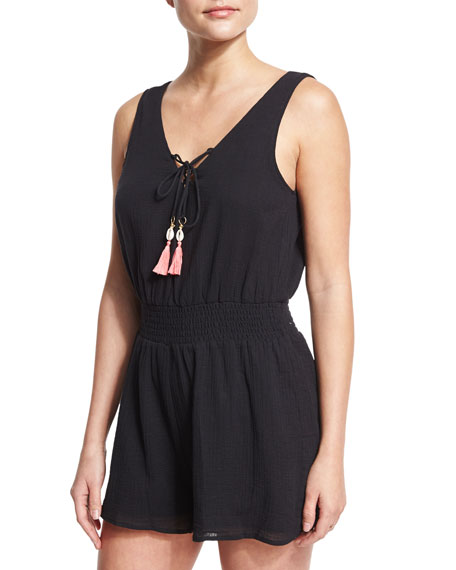 Seafolly Lace-Up Cotton Gauze Romper with Tassel Ties,