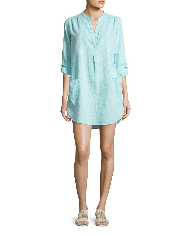 327ce536b1 Seafolly Boyfriend Beach Shirt, Blue | Neiman Marcus