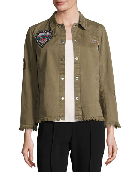 Cedar Denim Shirt Jacket with Logo Patches, Olive