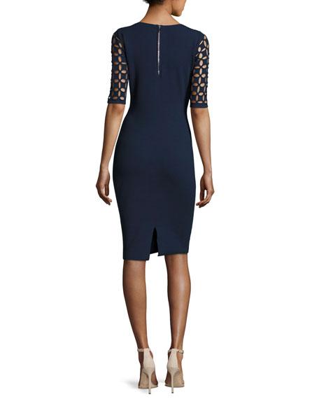Lattice-Sleeve V-Neck Sheath Dress, Navy