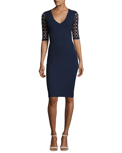 Lattice-Sleeve V-Neck Sheath Dress, Navy