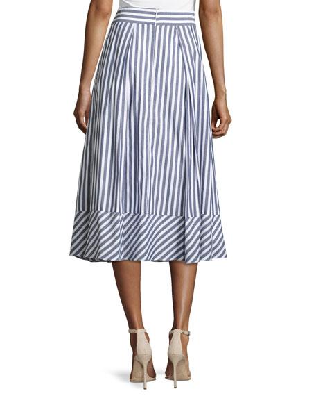 Pleated Striped Poplin Midi Skirt, Multi