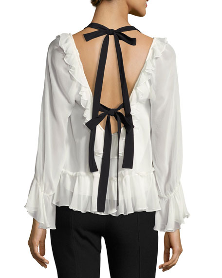 Amina Tie-Back Silk Ruffle Blouse, Ivory/Black