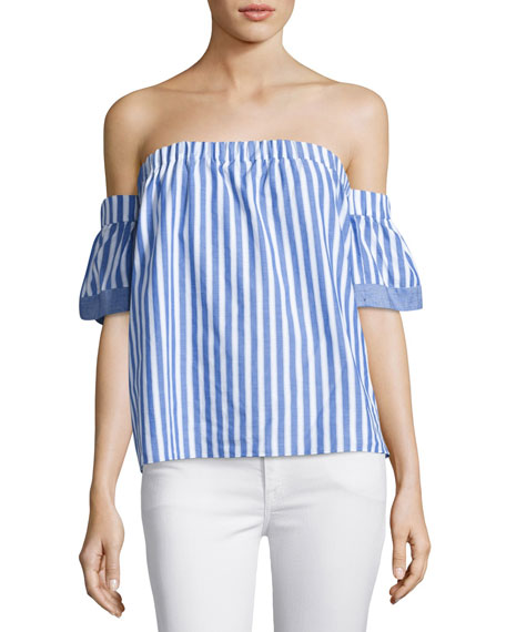 Milly Off-the-Shoulder Striped Poplin Blouse, Multi