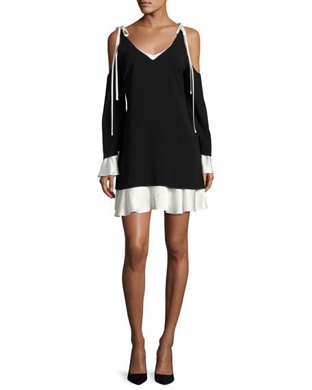 Cinq A Sept Aras Cold Shoulder Dress With Contrast Ruffle