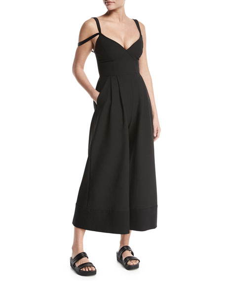 Jude Sleeveless Culotte Jumpsuit, Black