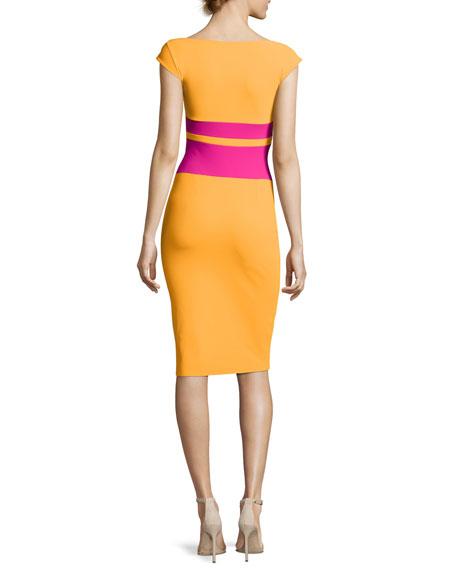 Sumatra Colorblock-Waist Sheath Dress