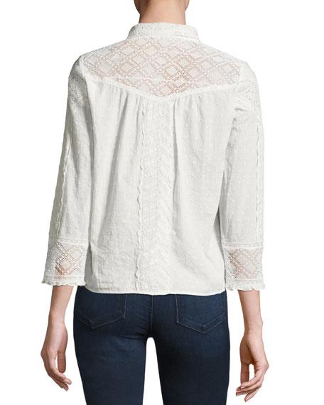 Emalia Mixed Eyelet-Lace Shirt, Ecru