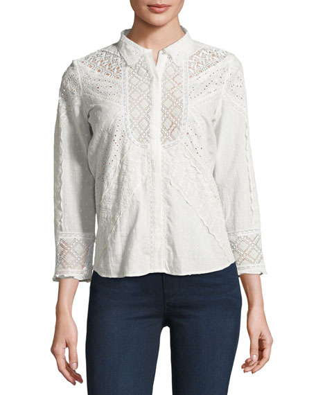 Emalia Mixed Eyelet-Lace Shirt, Ecru