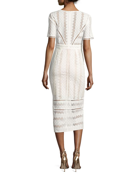 Gareth Cotton Lace Midi Dress, Ecru