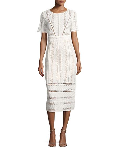 Gareth Cotton Lace Midi Dress, Ecru