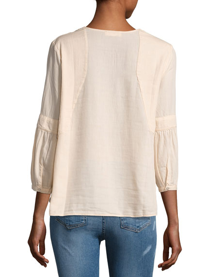 Tyron Split-Neck 3/4-Sleeve Top, Nude