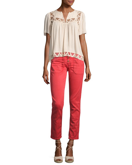 ba&sh Cmarc High-Rise Pants, Red