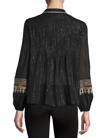 Mija Metallic-Stripe Embroidered Blouse, Black