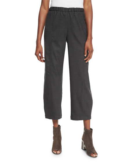 Eileen Fisher Stretch-Wool Lantern Ankle Pants