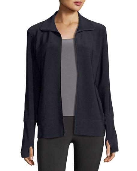 Norma Kamali Bonded Jersey Zip-Front Turtle Jacket, Dark