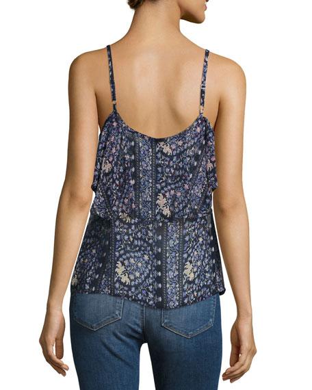 Henna Button-Front Camisole Top, Dark Ink Blue