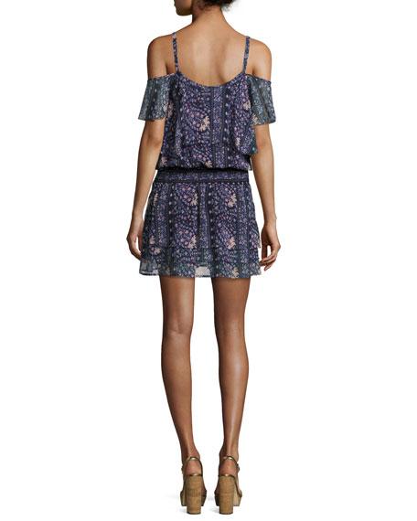 Olympia Cold-Shoulder Floral-Print Mini Dress, Dark Ink Blue