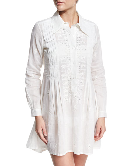 Mystic Eyelet Coverup Shirtdress, White