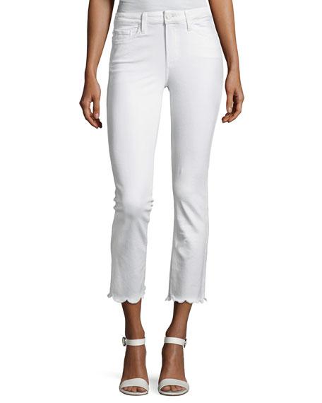Paige Jacqueline Cropped Straight-Leg Jeans W/ Scallop Hem, White
