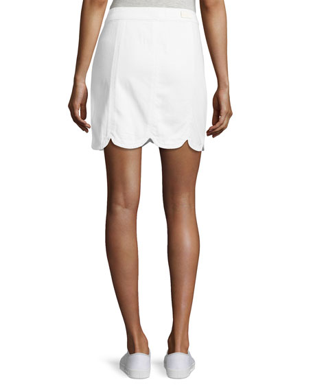 Francesca A-Line Scalloped Skirt, White