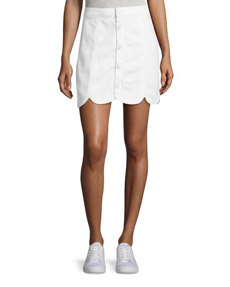 PAIGE Francesca A-Line Scalloped Skirt, White
